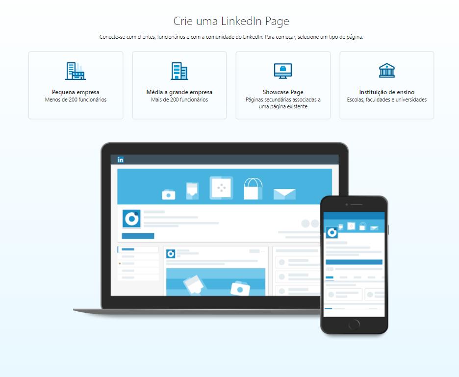 Criar uma página LinkedIn