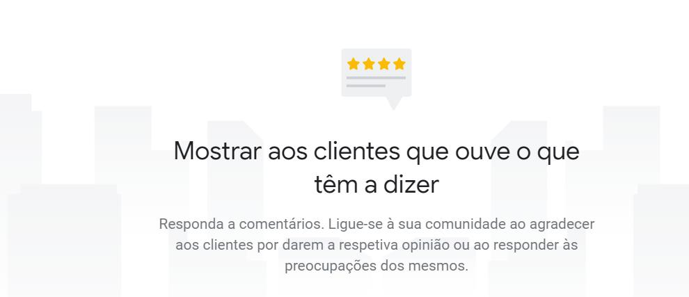 Interação com os clientes no Google My Business.