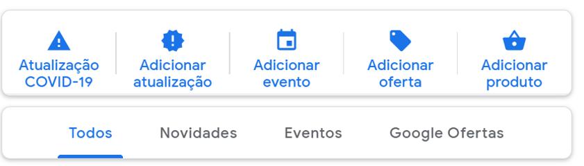 Publicações Google My Business.